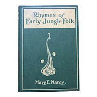 Very Rare 1922 RHYMES OF EARLY JUNGLE FOLK Mary Marcy Wharton Esherick Woodcuts Vintage Book