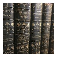 Old Antique Books NATHANIEL HAWTHORNE Set Leather Twice Told Tales