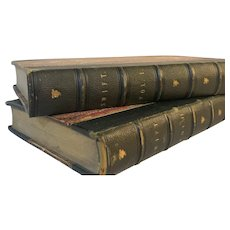 Set Antique 1853 Books Poetical Works Jonathan Swift Fine Binding Leather Marble Pages Gulliver's Travels