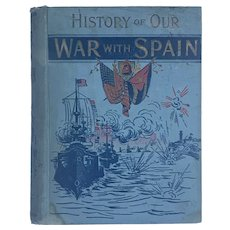 Antique 1898 WAR WITH SPAIN by James Rankin Young Old Historical Book ENGRAVINGS Patriotic Flag Fine Binding