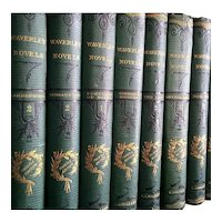 Exceptional Set of 48 1800s Antique WAVERLEY NOVELS by Sir Walter Scott Victorian Fine Binding Old Books Decorative