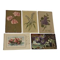 Lot of 10 Antique Post Cards FLORAL Art Nouveau Flowers Used Love