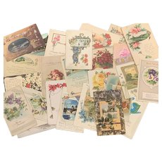 Lot of 25 Antique & Vintage Post Cards FLORAL EASTER CHRISTMAS Greetings Birthday Art Nouveau Flowers Used
