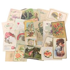 Lot of 20 Antique & Vintage Post Cards FLORAL LOVE Christmas Birthday EASTER Art Nouveau Flowers Used