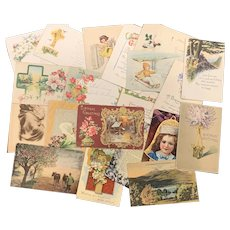 Lot of 20 Antique & Vintage Post Cards Greetings FLORAL Birthday CHRISTMAS Art Nouveau Flowers Used