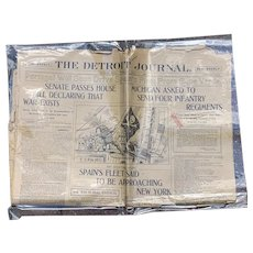 Antique 1898 Newspaper Detroit Journal Announcing Spanish-American War AUTHENTIC Not a Reproduction Military History