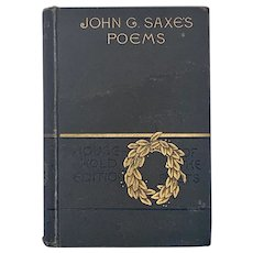 Antique 1884 Poetical Works of John Saxe Victorian Fine Binding Poetry