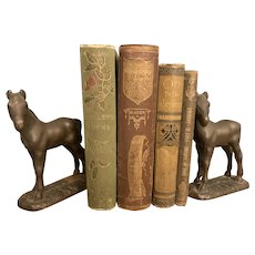 Set of Two Cast Iron Vintage Horse Bookends