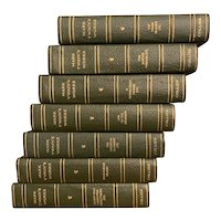 Set of 7 Antique 1917 Books WORKS OF MARK TWAIN Illustrated Tom Sawyer Green Book Decor