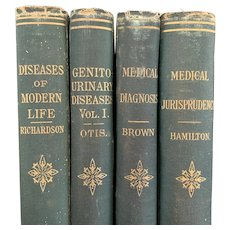 "Set of 4 Antique 1880s Books ""Bermingham's Medical Library"" Disease Syphilis Gynecology Victorian Binding"