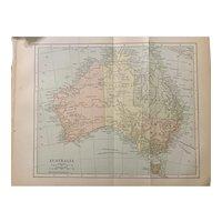 Antique 1891 Map of Australia Authentic Old Ephemera