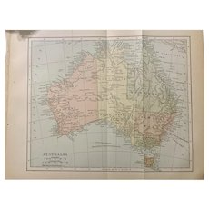 Antique 1891 Map of Australia Authentic Old Ephemera