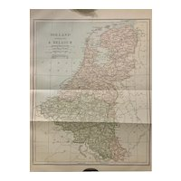 Antique 1891 Map of Holland Belgium Netherlands Authentic Old Ephemera