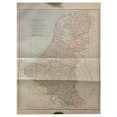 Antique 1891 Map of Holland Belgium Netherlands Authentic Old Ephemera