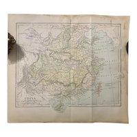 Antique 1891 Map of CHINA Authentic Ephemera old