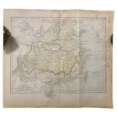 Antique 1891 Map of CHINA Authentic Ephemera old