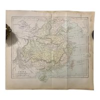 RESERVED Antique 1891 Map of CHINA Authentic Old Ephemera