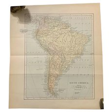 Antique 1891 Map of South America Brazil Authentic Old Ephemera