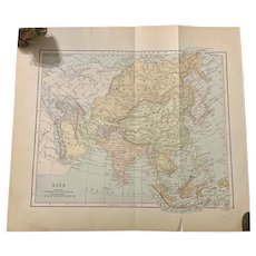 RESERVED Antique 1891 Map of ASIA Authentic Old Ephemera