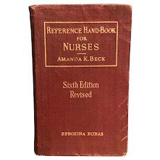 Vintage 1929 NURSE HANDBOOK by Amanda Beck Old Medical Book Saunders Softcover