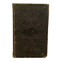 Antique 1874 Religious Book German BIBLE Foreign Leather Bound Gothic Font Hymns Music
