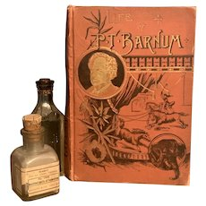"Antique 1891 Book ""Life of P. T. Barnum"" by Joel Benton Circus Victorian Fine Binding Illustrated"