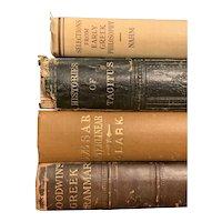 Set of 4 Antique Vintage Greek Books History School Philosophy Illustrated