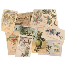 Lot of 10 Antique Post Cards CHRISTMAS Art Nouveau Floral Greetings Used Love