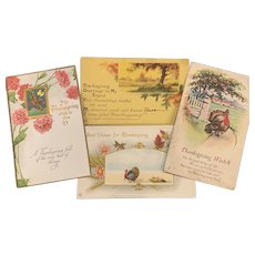 Lot of 4 Antique Post Cards THANKSGIVING Used Art Nouveau Turkey Old Greeting Card