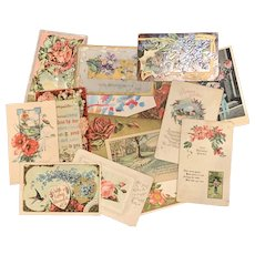 Lot of 15 Antique Post Cards FLORAL LOVE Used Art Nouveau Old Greeting Card