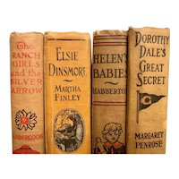 Set of 4 Antique Young Adult Girl's Books Illustrated Rustic Home Decor