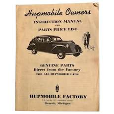Antique HUPMOBILE Owners' Instruction Manual and Parts Price List Detroit Car Booklet