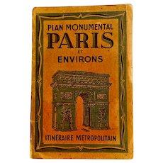 1930s Plan Monumental Paris Et Environs LARGE MAPS 30x22 Tourist Guide