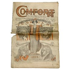 Antique 1914 COMFORT Magazine Old Farming Advertising Lincoln Washington Art Presidents Old Newspaper