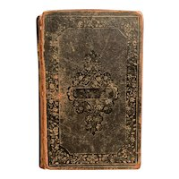 Antique 1854 HOLY BIBLE Leather Binding Decorative Shabby Family Heirloom Pre-Civil War 1800s