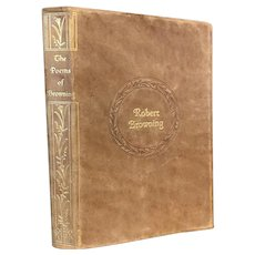 Scarce Vintage Leather Book 1932 Poems by Robert Browning Softcover