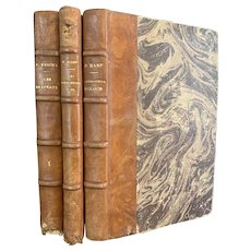 Set of 3 French Leather Bound Books Hand Marbled Covers