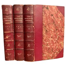 RARE 1875 Set THE INGOLDSBY LEGENDS Leather Bound Marbled Pages Ghost Stories Myths Esoteric Halloween