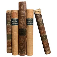 Set of 5 Antique Early 1800s French Leather Bound Books