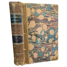 1842 Diary and Letters of Madame D'arblay Leather Bound Marbled Pages