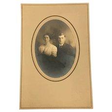 Antique 1800s Cabinet Card Photograph Married Couple Bust Portrait Halloween Decor