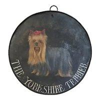 Folk Art Handpainted Yorkshire Terrier Tin Sign