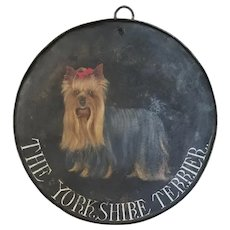Folk Art Handpainted Yorkshire Terrier Tin Sign
