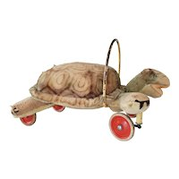 Late 1950s Steiff Mohair Turtle On Wheels (Ride-On/Pull-Along)