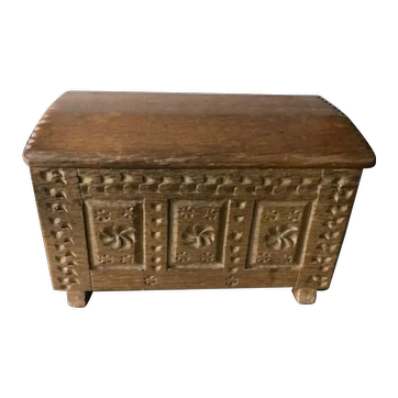 1950s Doll Size Carved Blanket Chest - Vintage Miniature