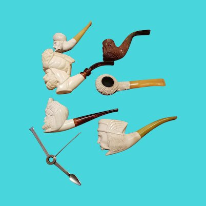 Collection of Vintage Meerschaum and Amber Pipes
