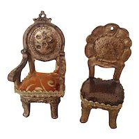 Two Vintage Dollhouse Chairs - Victorian Style