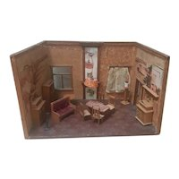 Antique Dollhouse Room Box - Living room