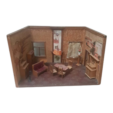Antique Dollhouse Room Box - Living room
