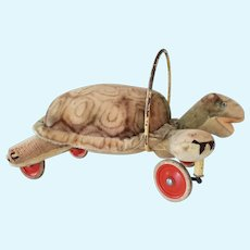 Steiff Turtle On Wheels Pully Toy